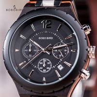 Saat erkek BOBO PÁSSARO Relógio Cronômetro Do Esporte Dos Homens De Madeira de Luxo Masculino Relógios de Quartzo relógio de Pulso Data de Exibição do Relógio de Negócios Dropship
