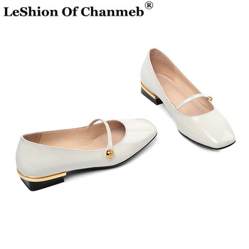 Genuine Leather Flats Women Mary Janes Button Flat Shoes Woman Ladies Small Size 33 Espadrilles Comfort Casual Flats Creepers