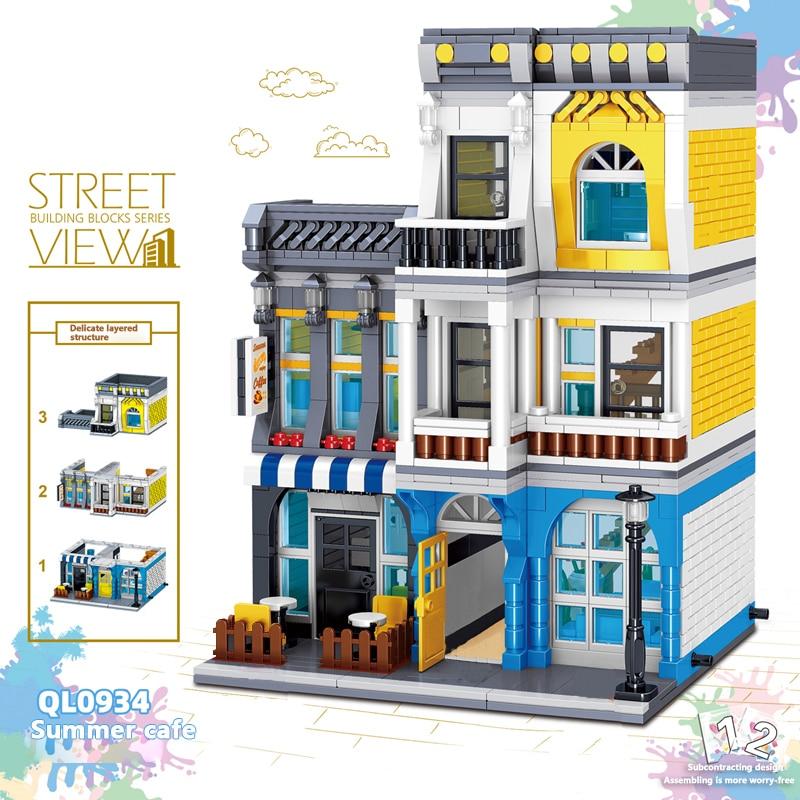 QUNLONG City Buildings Sets Coffee Shop House Hotel Architecture Restaurant Store Building Blocks City Street View Bricks Toys