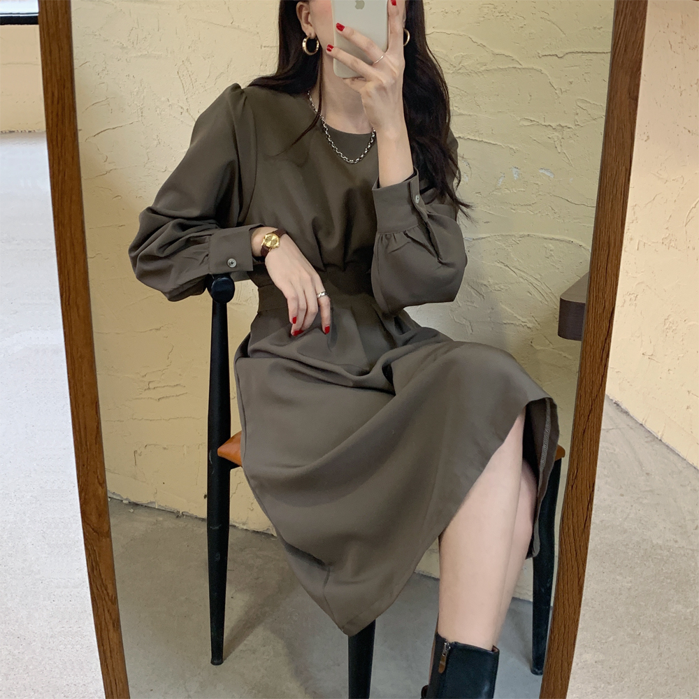 H1b0826eb92bc4dc6b6a1335c4ad7c349M - Autumn Korean O-Neck Long Sleeves Dark Solid Midi Dress