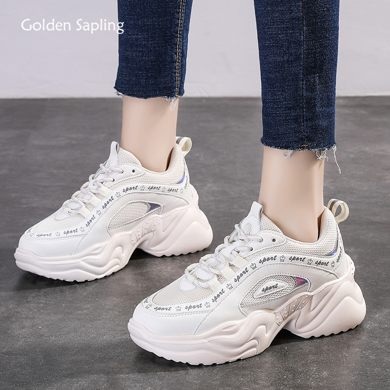 Golden Sapling White Sneakers 2020 Summer New Women's Running Shoes Breathable Air Mesh Platform Sneaker Trainer GYM Sport Shoes