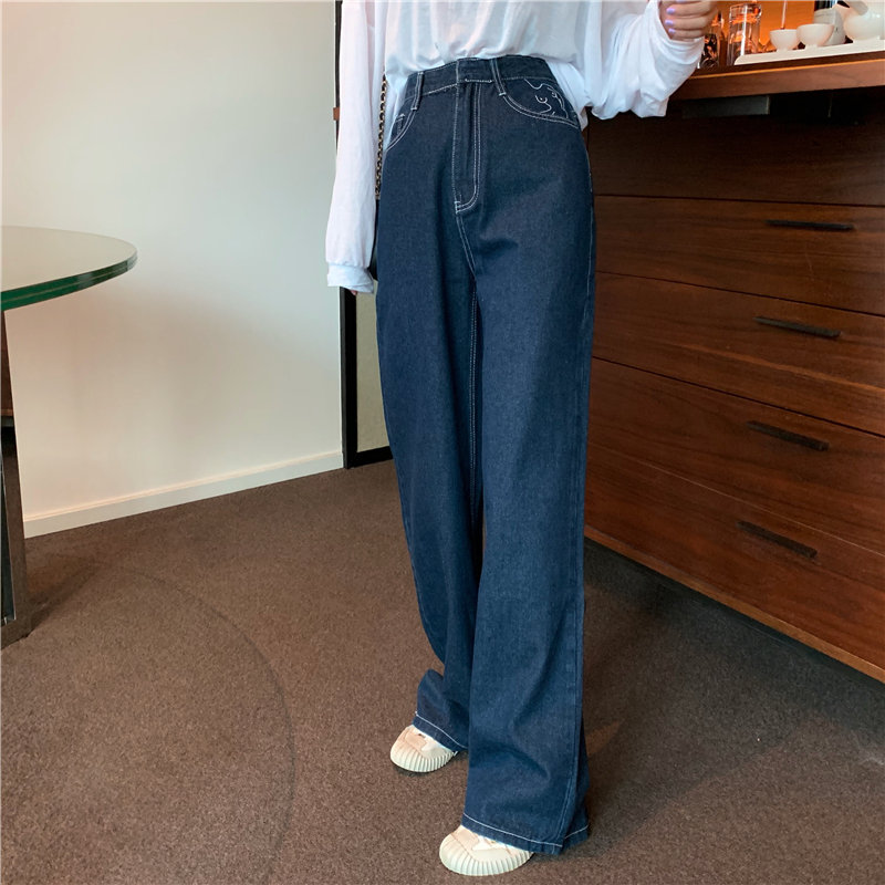 HziriP Hot Straight High Street Plus Size Embroidery 2019 High Waist Loose Jeans  Full-Length Denim Casual Wide Leg Trousers