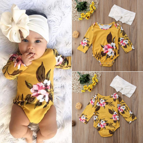 Hirigin Newborn Infant Baby Girls Playsuit Outfits Clothes Headband Set