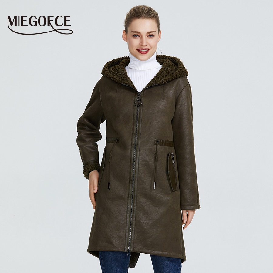 MIEGOFCE 2019 New Winter Women's Collection Of Fake Fur Jackets Long Coat Unusual Design Of Women's Sheepskin Parka