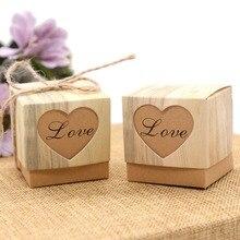 50Pcs VINTAGE กระดาษหัวใจรัก Rustic หวานเลเซอร์ตัด Candy Gift Boxes งานแต่งงาน Favors จัดส่งฟรี