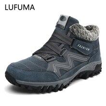LUFUMA/зимние мужские ботинки с мехом; коллекция 2020 года; теплые кожаные зимние ботинки; Мужская зимняя повседневная обувь для работы; кроссовк...