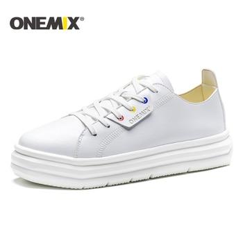 ONEMIX Factory sale Casual Men Sneakers Leather Skateboarding Shoe Simple Comfortable Women Walking Flat Platform Shoes Loafers