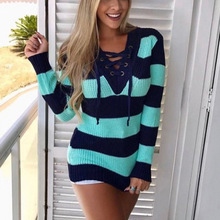 2019 autumn and winter sweater female V-neck tie contrast color striped sweater