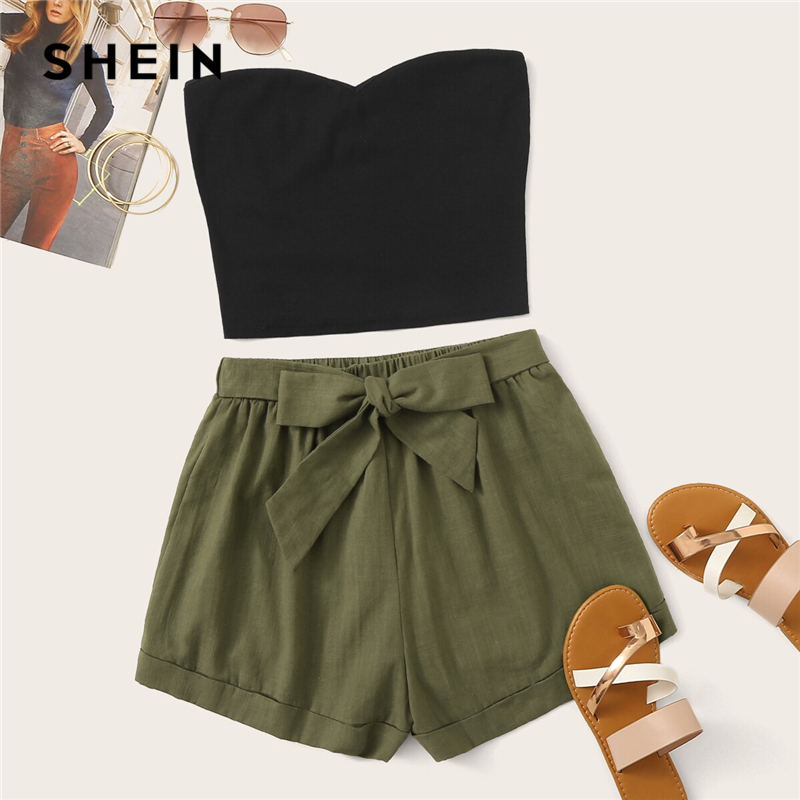 SHEIN Plus Size Solid Tube Crop Top And Belted Shorts Set Summer Strapless Sleeveless Straight Women Plus Casual Two Piece Set