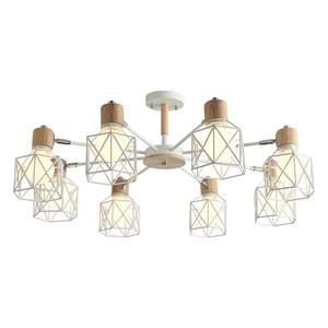 Image 5 - BOTIMI Lustre Wooden Chandelier For Living Room Iron Lampshade LED Chandelier Lighting Lustres Para Sala De Jantar Home Lamp