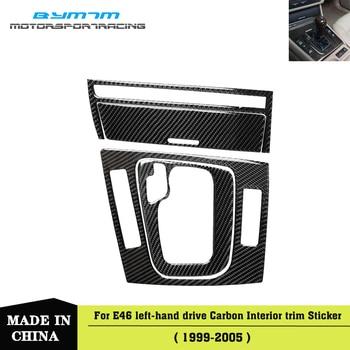 Left-hand drive Cigarette lighter frame Gear box Real Carbon fiber Automotive Interior trim For BMW 3-Series E46