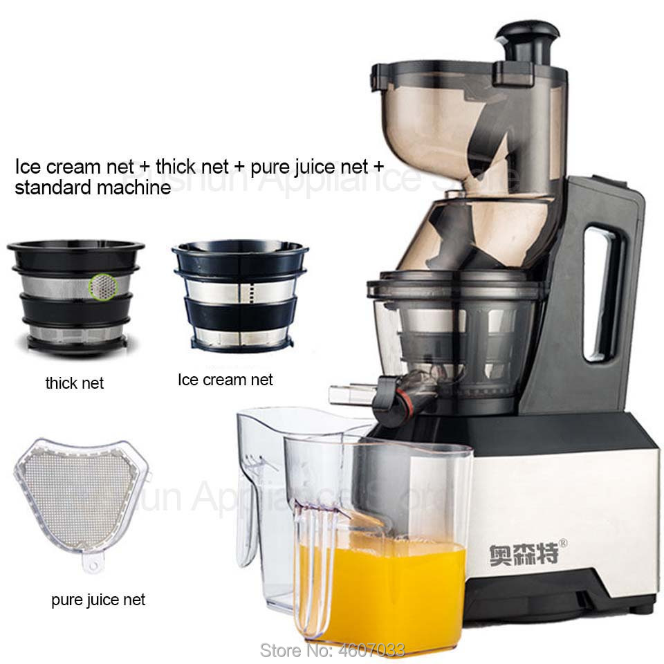 Low Speed Large Wide Feeding Inlet  Whole Apple Orange Slow Juicer Soya-bean Tofu Vegetable Juice Extractor Squeezer 220V