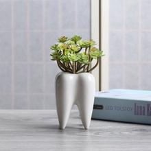 Simple Outdoor Gardening Creative Succulent Tooth Desktop Flowerpot Ceramic Potted Decoration