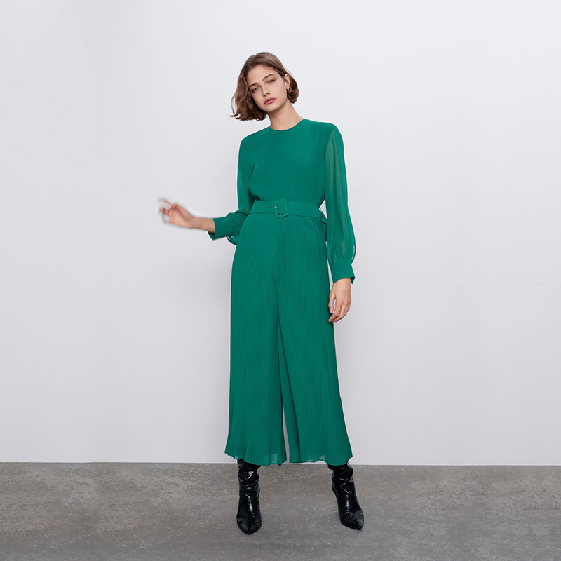 New ZA Pleated Rompers Women Bohemian Green Round Collar Long Sleeve Detachable Belt Concealed Back Zip Closure Charm Rompers