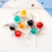 Brinco para as mulheres resina arco-íris lollipop gota brincos crianças jóias feito à mão bonito meninas algodão doce presente