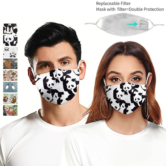 Cute Panda PM2.5 Reusable Adult Cartoon Anime Mask Breathable Protective Face Mouth Mask bacteria proof Flu Women Men Mask