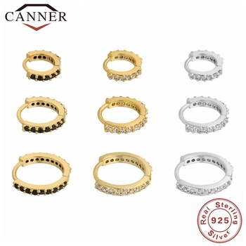 1 Set CANNER 100% Real 925 Sterling Silver Hoop Earrings for Women Zircon CZ Round Circle Earrings Round Earing Wedding Jewelry