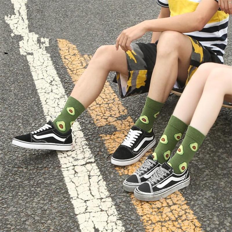 The New 1 Pair Autumn Men And Women Pass Stockings Cotton Men's And Women's Creative Cartoon Fruit Socks Tide Socks