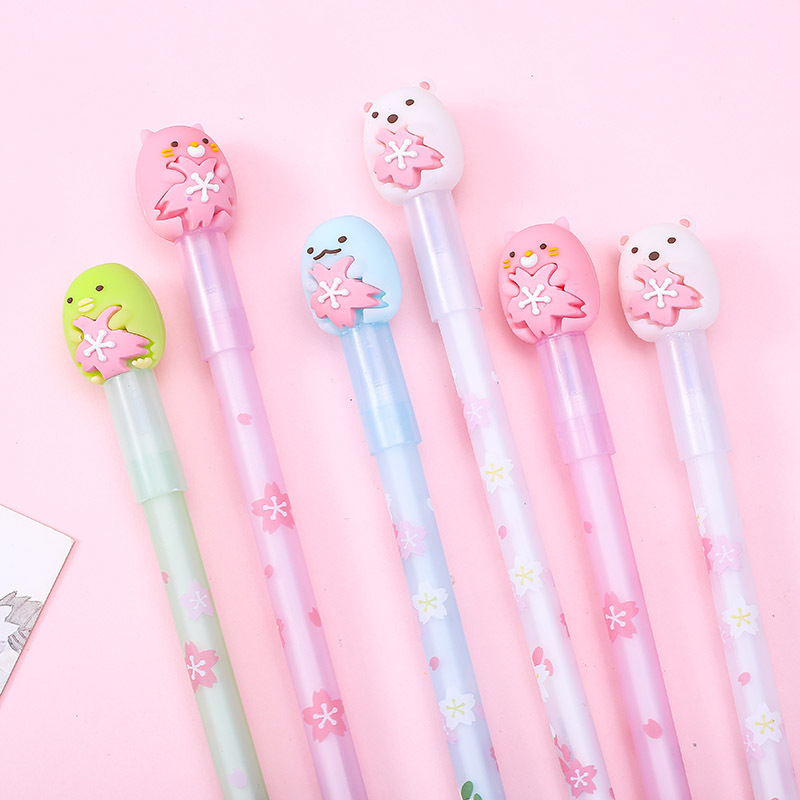 4pcs Gel Pens Cute Corner Creature Erasable Blue Colored Gel-ink Pens Pens For Writing Cute Stationery Office School Supplies