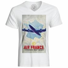 Camiseta Air France New Skies Retro Vintage comerciales affles nueva Unisex divertida camiseta