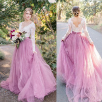 V Neck Lace Wedding Dress Pink Skirt Long Sleeves Bridal Gowns Vestido de Noiva Robe de Mariee Vintage Wedding Gowns