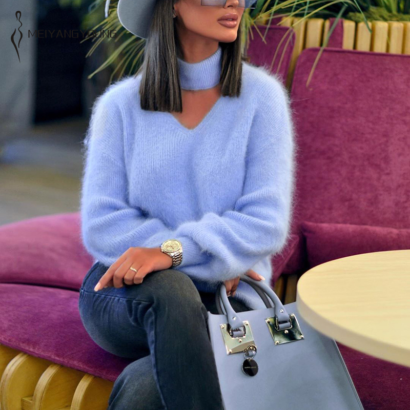 MEIYANGYOUNG Turtleneck Sweater Women Blue Winter Clothes Hollow Out Knitted Sweaters Casual Soft Fluffy Pullovers Jumpers