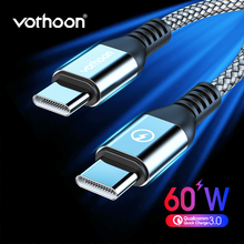 Кабель Vothoon с USB C на USB Тип C для Samsung Note 20 Xiaomi Быстрая зарядка 4,0 PD 60 Вт Быстрая зарядка для MacBook Pro зарядный кабель