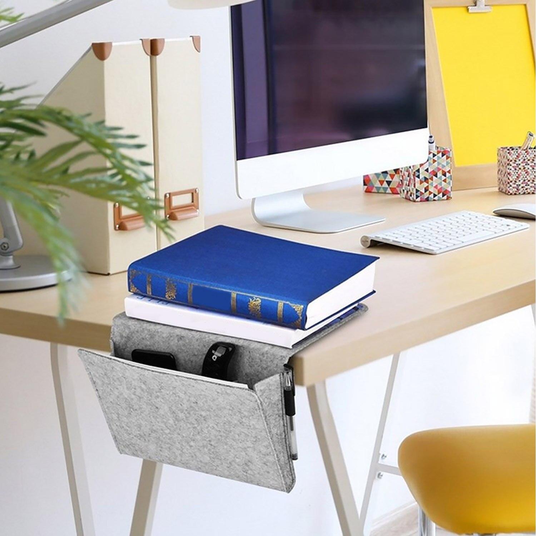 Behogar 2mm Thickness Contains Felt Bedside Hanging Organizer Storage Bag Caddy Pocket Organizer for Table Sofa Beds Hotel
