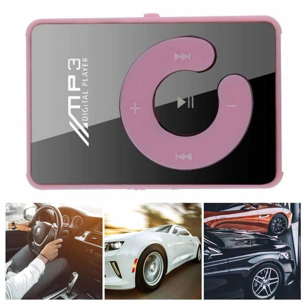 Portable Mini miroir pince lecteur MP3 musique Support multimédia Micro SD TF carte mode Hifi MP3 pour les Sports de plein air