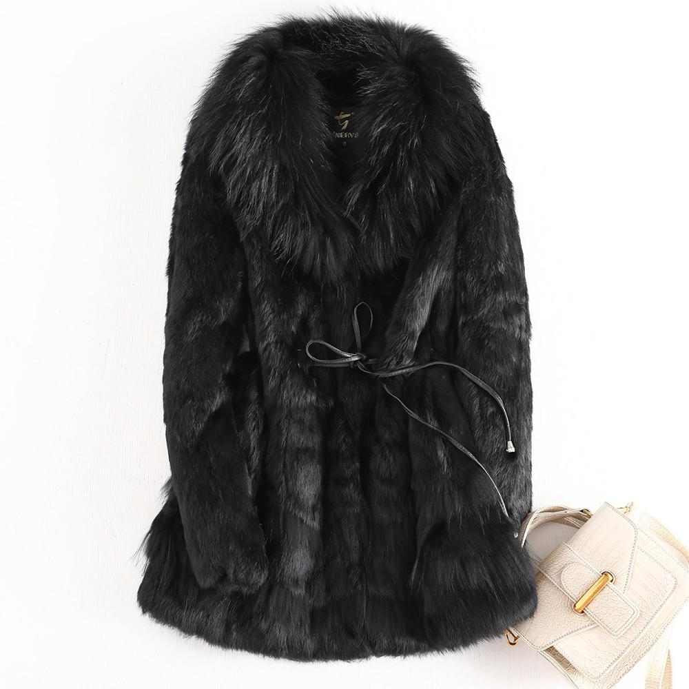 New Fashion  Real Rabbit Fur Coat With Luxury Genuine Fox Fur Collar Jacket Factory Wholesale OEM Low price Discount 100%