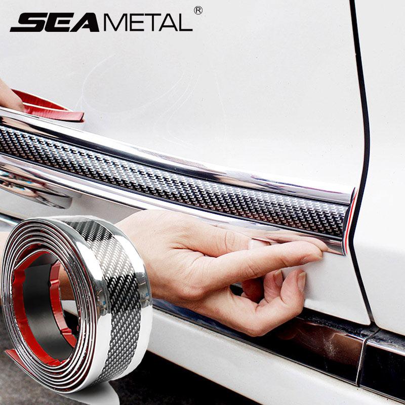 Auto bande de pare-chocs autocollant de voiture Film de Fiber de carbone Film d'enveloppe haute brillance Anti-collision seuil de porte protecteur accessoires de style de voiture