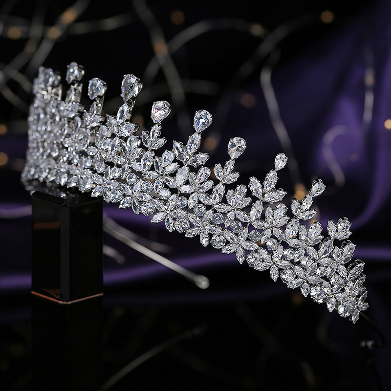 Tiaras and Crown HADIYANA Leave Shapes Design Temperament Women Wedding Party Hair Accessorie Cubic Zircon BC5796 Corona Princes