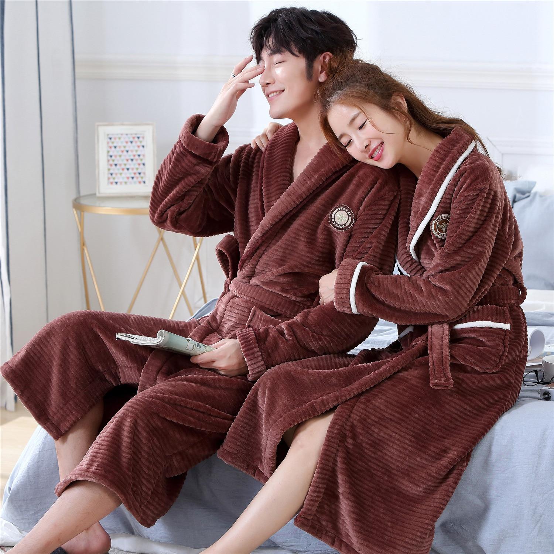 Pocket Brown Flannel Winter Bathrobe Sleepwear Thick Kimono Gown Soft Autumn Women Nightgown Home Clothing Belt Pyjamas