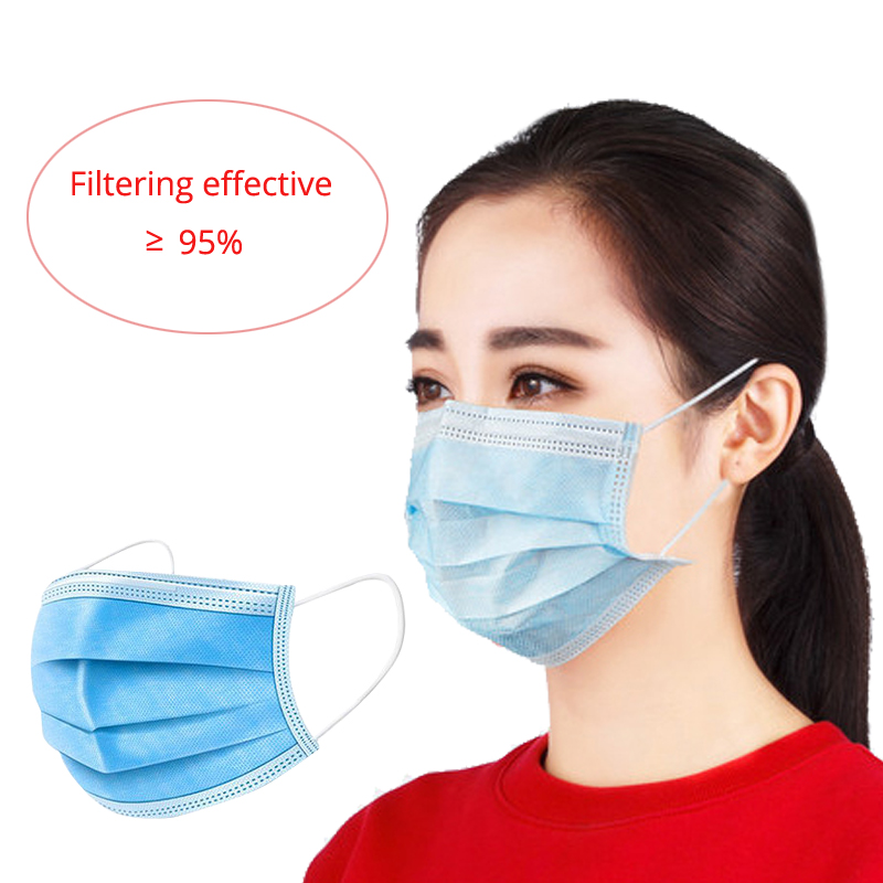 10/20/50pcs Dustproof Disposable Masks Anti-Dust Face Mouth Mask 3 Layers Facial Protective Cover