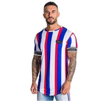 Casual Men T-shirt Stripe Summer Man Tshirt Fashion Tops Streetwear Male T-shirts Hip Hop Brand Clothing Mens Tee T Shirt Men 1