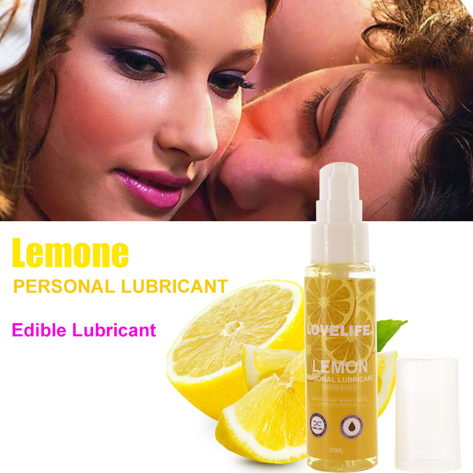30ml Lemon Flavor Edible Lubricant Anal Vaginal Oral Sex Silicone Lubricating Oil Adult Sex Products Body Massage Gel Gay Sex