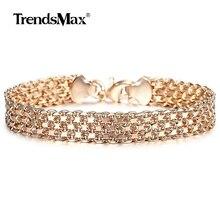 10 мм 12 мм большой широкий браслет для женщин и мужчин 585 цвета розового золота Двойное плетение Rolo Cable Curb Link Catenary Chain Jewelry CBB01