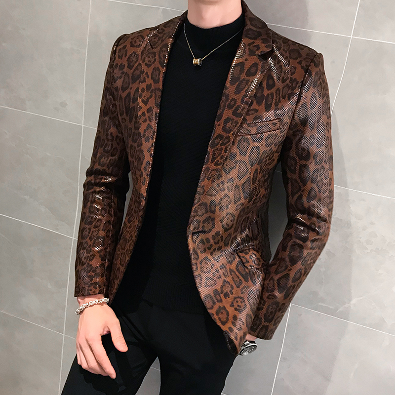 Leopard Leather Jacket Men Blazer Masculino Autum Casual Suit Jacket Veste Costume Homme Single Button Dress Coat Jacket For Men