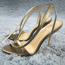 Sexy Gold Patent Sandals High Heel Slimmer Dress Party Women Sandals Summer New Open Toe Ankle Strap Stiletto 11cm Heel Shoes