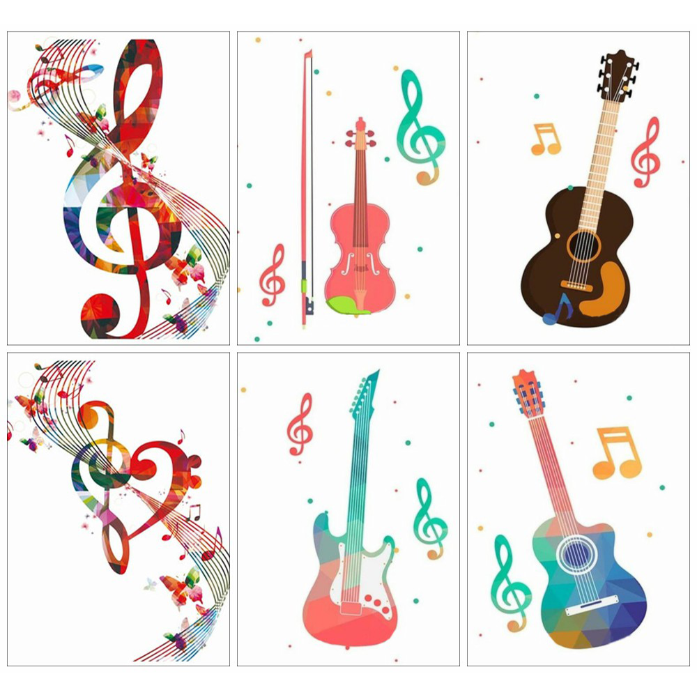 Huacan Diamond Painting Full Square Musaic Home Decoration Mosaic Guitar Handmade Gift Diamond Art image