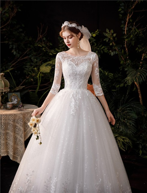 New Sweetheart Three Quarter Elegant Wedding Dress With Sleeve Long Lace Embroidery Train Bridal Gown Plus Size Vestido De Noiva 6