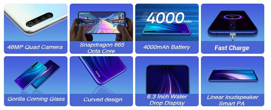 "H1b0a096c6bc14446b3d2ddc878d1c9ddq In stock Global ROM Xiaomi Redmi Note 8 4GB 64G 48MP Quad Camera Smartphone Snapdragon 665 Octa Core 6.3"" FHD Screen 4000mAh"