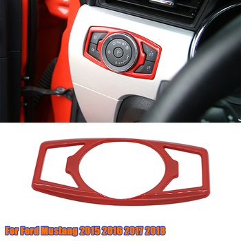 Car Interior Head Light Lamp Switch Button Cover Frame Trim For Ford Mustang 2015-2018 ABS Plastic Headlight Decoration Stickers image