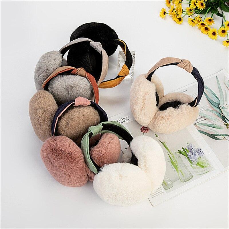 Women Winter Earmuffs Faux Fur Headband Knot Warmer Plush Party Ear Muffs Oorwarmer Nauszniki Ear Warmer Orejeras De Invierno CD