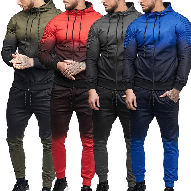 Puimentiua 2 Pieces Zipper Tracksuit Men Set Sporting Sweatsuit Men Clothes Printed Hooded Hoodies Jacket Pants Track Suits Male