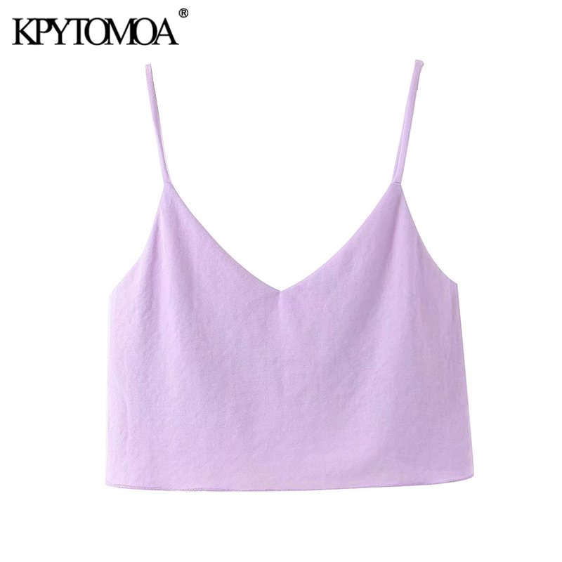 KPYTOMOA Women 2020 Sweet Fashion Cozy Cropped Blouses Vintage Backless V Neck Straps Female Shirts Blusas Chic Tops