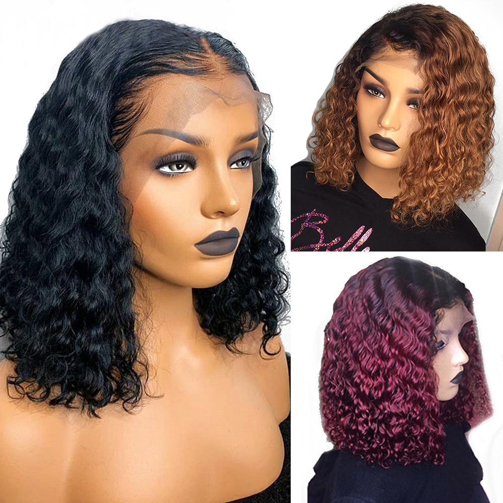 Eversilky 1B/99J Burgundy Red Ombre Short Bob Human Hair Wig 1B/30 Curly Honey Blonde13x4 Lace Front Wig Deep Part Peruvian Remy