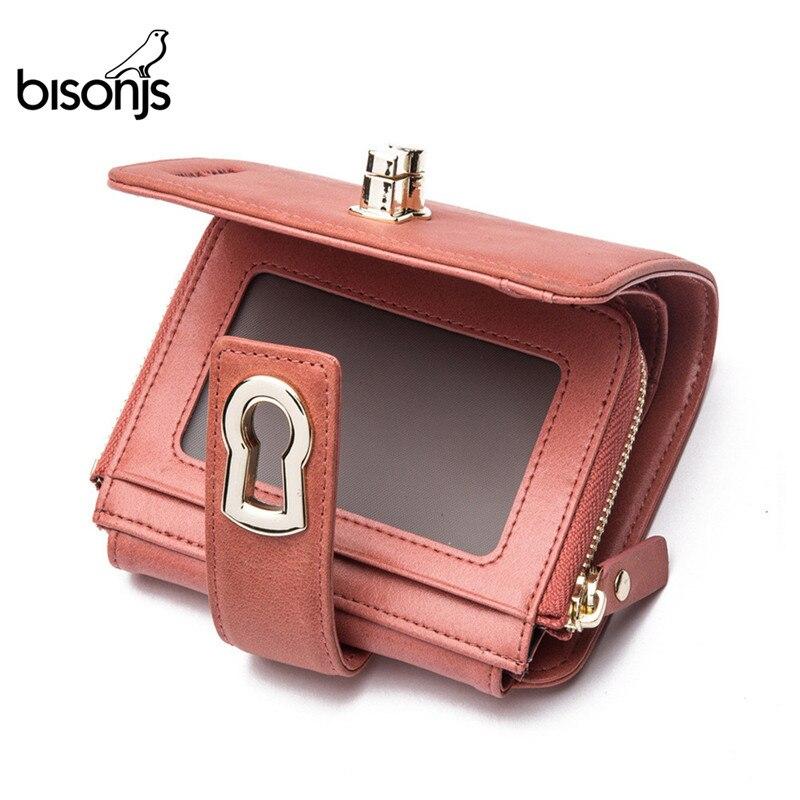BISONJS Genuine Leather Women Short Wallet  Women's Purse Zipper Metal Lock Purse Small Wallet Coin Pocket Cartera B3279