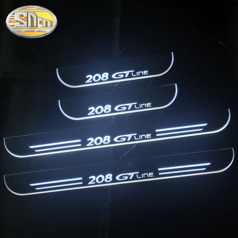 SNCN 4PCS Acrylic Moving LED Welcome Pedal Car Scuff Plate Pedal Door Sill Pathway Light For <font><b>Peugeot</b></font> <font><b>208</b></font> GT Line 2019 <font><b>2020</b></font> image