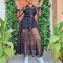 Damska długa siatka koszula sukienka Polka Dot przepuszczalność czarny przeźroczysty tiul afrykańska moda wiosna kobiece szaty tunika Plus rozmiar XL